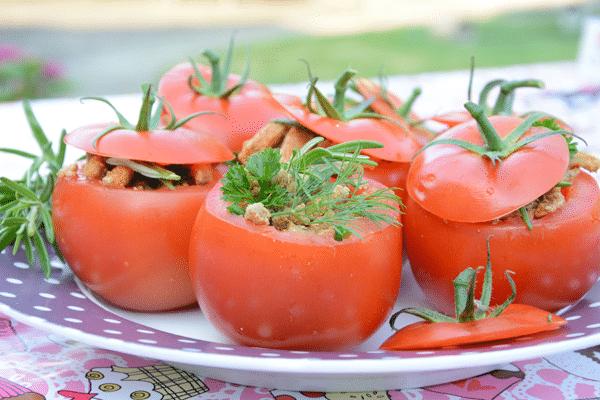 Gevulde tomaten met shoarma