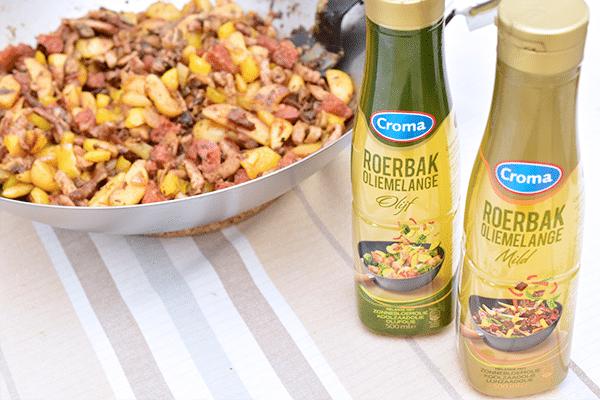 Chorizoroerbak met varkensreepjes, aardappelpartjes en Croma