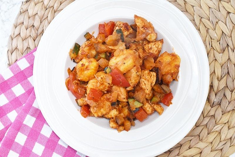 Gnocchi met paprika, aubergine en courgette