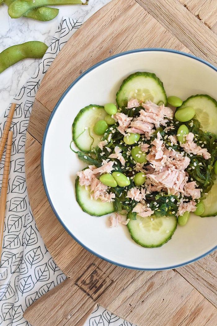 Wakame salade met tonijn en edameboontjes