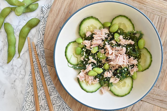 Wakame salade met tonijn en edamame boontjes
